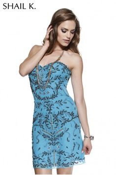 Blue Strapless Beaded Cocktail Dress By Shail K