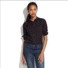 Broadway & Broome button up top SZ xs black Black button up top embroidered dots Madewell Tops Button Down Shirts