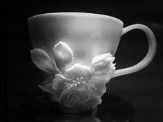"Porcelain flowers Cup of coffee ""Briar"" Russian porcelain, 2013. Artist Lada Peskova"
