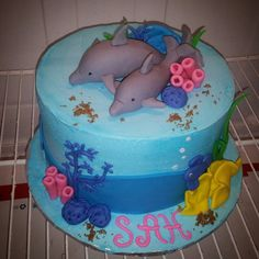 Dolphin Under the Sea Fondant Cake Topper Set by dallas2001