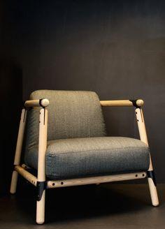 Sjoerd Vroonland and Arjan Vaandrager; Wood and Enameled Steel 'Pin' Lounge Chair, 2010s.