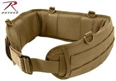 aa6962d6b Coyote Brown Tactical Duty Battle Belt - Rothco Padded Mesh Non-Slip D-Ring  Belt