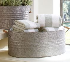 Eclectic Galvanized Metal Planters #potterybarn