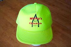 NICKYS-FRIED-CHICKEN-Vintage-Trucker-Hat-Foam-Front-Mesh-Back-Yellow-SnapBack