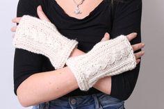 Fingerless Gloves Women Hand Knit Loro by Reginastimelessknits