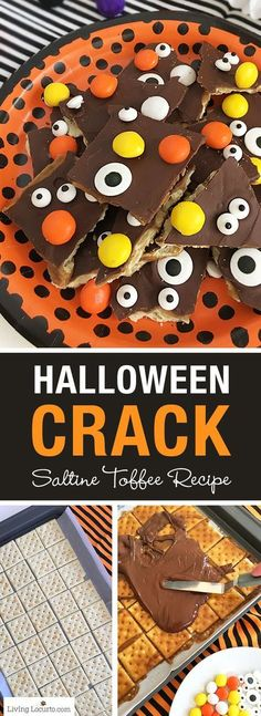 If you can't wait for Christmas Crack, try Halloween Crack! A quick and fun dessert recipe with saltine crackers covered in chocolate and Halloween candy. Easy Saltine Toffee bark recipe with candy eyeballs and M&M's. (easy sweets for christmas) Halloween Bark, Halloween Desserts, Fun Desserts, Dessert Recipes, Party Recipes, Halloween Foods, Haunted Halloween, Holiday Recipes, Halloween Projects
