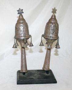 Iraqi Antique Judaica Rimonim Torah Finials Sterling Silver Iraq circa 1950s
