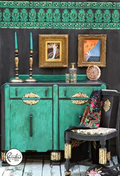 Cabinet painted in Florence Chalk Paint® and accented with Graphite and metallic gold. The chair is painted in Graphite with brass leaf on the carving details. | Wall, cabinet and chair projects with Chalk Paint® by artist Janice Issitt | Annie Sloan Inspiration Gallery