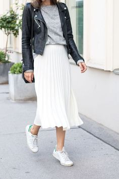 Adidas Women Shoes - White pleated skirt, black leather jacket, grey sweater and white sneakers - perfect autumn look Clothing, Shoes & Jewelry : Women : Shoes : Fashion Sneakers : shoes - We reveal the news in sneakers for spring summer 2017 Mode Outfits, Skirt Outfits, Casual Outfits, Fashion Outfits, Sneakers Fashion, Fashion Ideas, Fasion, Fashion Clothes, Casual Wear