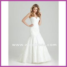 A white mermaid wedding dresses strapless with lace appliques organza Style 2555
