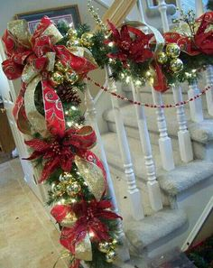 Opulent red and gold Christmas staircase garland (with some how-to tips) Christmas Stairs, Diy Christmas Garland, Noel Christmas, Christmas Projects, Winter Christmas, Christmas Mantels, Christmas Phrases, Victorian Christmas, Christmas Christmas
