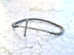 SALE - Rhinestone Sideways Cross Bracelet - Gunmetal