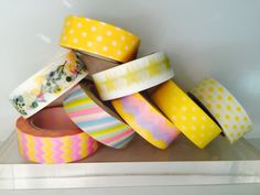 Yellow Washi Tape in 8 Patterns by GoatGirlMH on Etsy