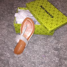 Jeweled Sandals Jeweled T Strap Sandals. No Stones Missing. Gianni Bini Shoes Sandals