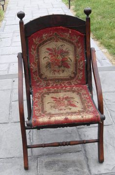 Antique Victorian Mahogany Carpet Covered Child's chair