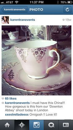 Love this look. Mix match vintage china for tea and dessert