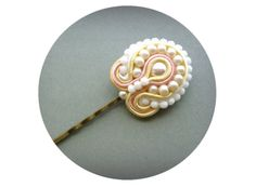Soutache Hair Pin Ivory & Soft Pink Bridal Bobby by SenoritaJoya