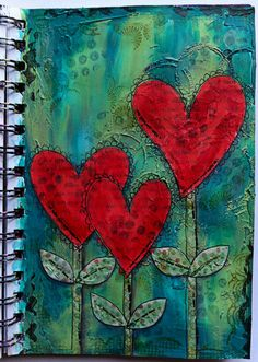heart flowers, art journaling, mixed media    ...BTW,Check this out:  http://artcaffeine.imobileappsys.com