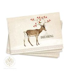 Deer, postcards, Christmas, woodland, dreaming, red berries, robin, vintage style, note cards, reindeer, antlers, holiday cards, snow on Etsy, $14.00