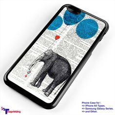 Elephant balloon newspaper - Personalized iPhone 7 Case, iPhone 6/6S Plus, 5 5S SE, 7S Plus, Samsung Galaxy S5 S6 S7 S8 Case, and Other