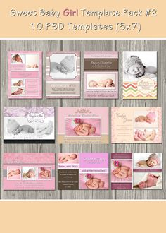 Birth Announcement Templates - Baby Girl Pack 2 - 10 PSD Commercial use Templates - Buy 2 sets get 1 FREE. $29.99, via Etsy.