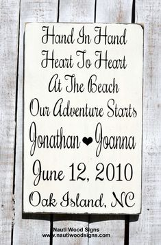 Great Personalized Gift For The Beach Bride And Groom!  Hand Painted, Wood, Rustic Wedding Signs, Beach Wedding Sign Reception White Wood Wedding Decor Nautical $ Anchor Signs Love Hand In Hand At The Beach Anniversary Wedding Gift, Wood Sign  www.nautiwoodsigns.com  #beachwedding #personalized #rustic #woodsign #whitewedding #destinationwedding #gift #nautical #coastal #love #marriage