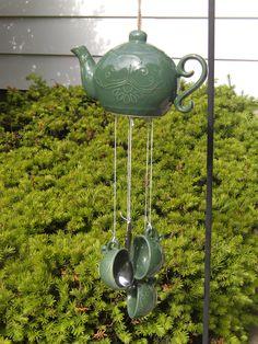 teapot windchime with teaspoon and tea cups from www.theteaenthusiastsscrapbook.com
