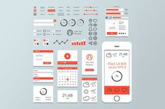 Red & White Flat Mobile Web UI Kit by Krafted on Envato Elements Wireframe Design, Ui Design, Ui Kit, Flat Ui, Mobile Web, White Flats, Red And White, Templates, Blog