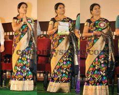 DK Aruna in Gray Benaras Saree | Saree Blouse Patterns