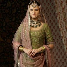 Embroidered kurta with a multi-patch work sharara and a badla dupatta Featured here: The classic Sabyasachi sangeet jewelry. Made in gold with uncut diamonds, emeralds, rubies and Japanese culture pearls. Indian Bridal Wear, Indian Wedding Outfits, Pakistani Bridal, Bridal Outfits, Pakistani Dresses, Indian Dresses, Indian Wear, Indian Outfits, Bridal Dresses