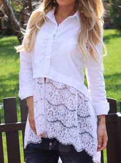 White Patchwork Lace Hollow-out Casual Blouse