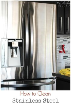 I recently moved into a home with stainless steel appliances and I love it! Pretty and shiny…until the kids touch it. No worries though, I've found that cleaning stainless steel can actually be pretty easy. Household Cleaning Tips, Diy Cleaning Products, Cleaning Solutions, Cleaning Hacks, Cleaning Supplies, Cleaning Maid, Cleaning Items, Household Cleaners, Cleaning Stainless Steel Appliances