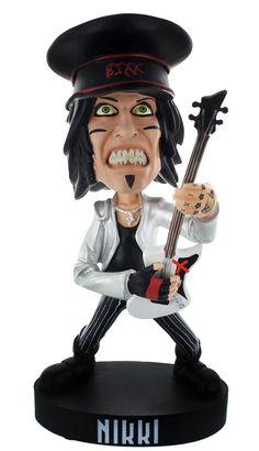 "Motley Crue 8.5"" Resin Bobblehead Statue: Nikki Sixx with Hat - Toynk Toys Exclusive"