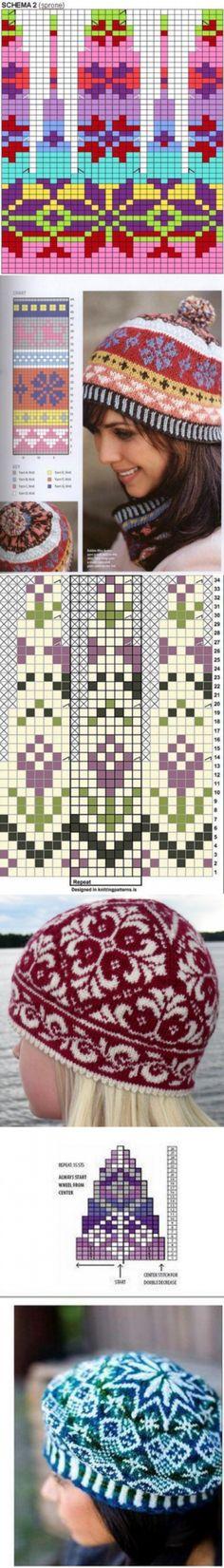 Схемы жаккардовых узоров для вязания шапок
