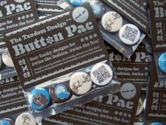 Promo button packs with 4 pin-back buttons each.