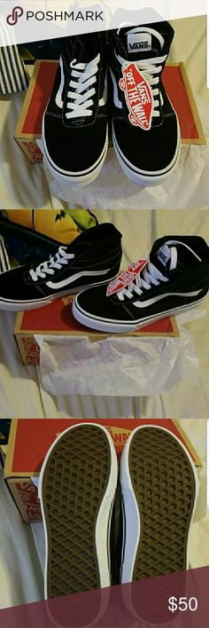 Vans hi-cut BNIB Vans ward Hi cut suede/canvas black/white vans shoes size 7Y equivalent to 8.5 women. Vans Shoes Sneakers