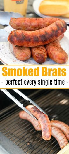 Smoked Brats Smoked brats are a delicious lunch or dinner idea you can make in your pellet or electric smoker this week! If you haven't smoked sausage yet, try this! Brats Recipes, Traeger Recipes, Smoked Meat Recipes, Rib Recipes, Oven Recipes, Kitchen Recipes, Potato Recipes, Crockpot Recipes, Easy Recipes