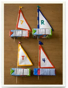 Juice Box Boats (rain gutter regatta with different sails) Kids Crafts, Boat Crafts, Craft Activities For Kids, Summer Crafts, Summer Fun, Arts And Crafts, Family Crafts, Crafty Projects, Projects For Kids