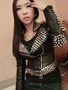 2016 Women Punk Rivet Studded Epaulet Motorcycle Spiked Leather Jacket Plus Size Faux Leather Jacket Black PU Jacket