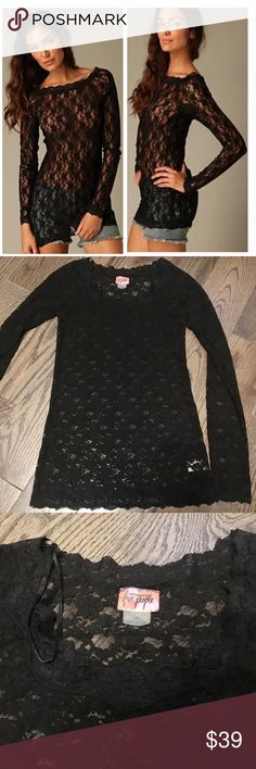 "Intimately Free Black Lace Scandalous Top Free People Intimately FP Black Lace Long Sleeve ""Scandalous Top"". Size Medium. Form-fitting. Long Sleeve. EUC, very stretchy (90% nylon/10% spandex).   On here to declutter,  trades. If I want something in your closet badly enough, I'll buy it  Reasonable offers always welcome! Free People Tops Tees - Long Sleeve"