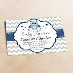 Baby Shower Invitation /Blue Grey OWL Baby Shower invitation 14