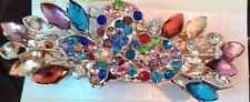 Barrette Hair Pin Clip Rhinestone Multi-colored Butterfly Ships From Usa