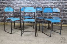 Stacking chairs in a variety of colours original vintage #industrial #stylish #blueblack
