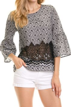 EMBROIDERED BELL SLEEVE BLOUSE WITH LACE CONTRAST
