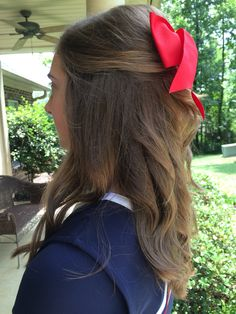 Side pic of half up cheer bow hair!☺️