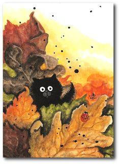 Autumn Leaves Black Kitty Cat in Fall  Original by AmyLynBihrle, $35.00
