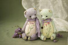 Купить Лавандовая и Мятная мишки - сиреневый, лавандовый, фиолетовый, мятный, бежевый, светло-желтый, зеленый