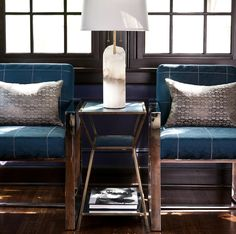 Add a fresh spin on strong, masculine lines with a hint of shimmer and texture. Featured fabrics: Mystique – Nightnoon (chairs) and Monday Muse – Titan (pillows). Fabricut Fabrics, Fabric Decor, Bar Stools, Branding Design, Upholstery, Spin, Texture, Pillows, Chairs