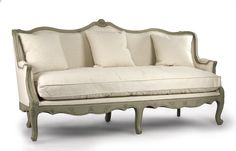 """<img src=""""{{media url=""""/free-zentqiue-shipping.png""""}}"""" alt="""""""" /><BR><BR>This beautiful sofa features full linen upholstering in an off-white color. Gorgeous design for a French styled room. <BR><BR>Color/Fabric  Off White Cotton with Jute back, Material  Faux Olive Green<BR><BR> Width 78"""", Height 41"""", Depth 31""""<BR><BR>Return Policy: This item is not eligible for returns or exchanges so please make sure to look over the pictures and ask questions before purchasing this beautiful ..."""
