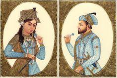 Mughal Miniature Art Emperor Shah Jahan Empress Mumtaz Mahal Rare Royal Painting